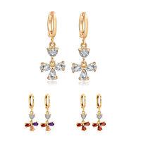 Flower bless cross yellow gold filled crystal womens dangle Cute hoop earrings