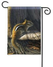 "12.5"" x 18"" CHIPMUNK PERCHED ON TREE Small Country Woods Decorative Banner Flag"
