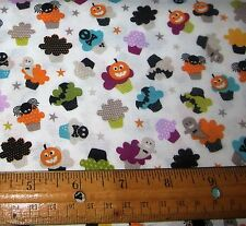1 yard of SMALL COLORFUL HALLOWEEN CUPCAKES on WHITE 100% Cotton Fabric
