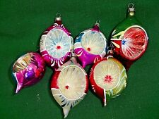 """New Listing6 indent tear drop Christmas hand painted glass ornaments 3 1/2"""" -4"""" tall"""