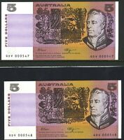 Australian Low Serials $5 Pair QDV 000547 - 000548 Fraser Higgins Banknotes r212