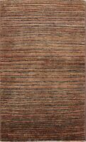 Modern Striped Gabbeh Kashkoli Oriental Area Rug Hand-knotted Foyer Carpet 2x3