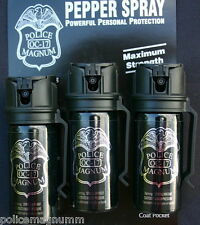 3 Police Magnum pepper spray 2oz Stream Flip Top Belt Clip Personal Self Defense