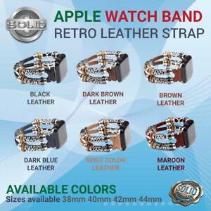 Genuine Leather Watch Strap Bracelet Wrist Band Apple Watch 6/SE/5/4/3/2 38-44mm