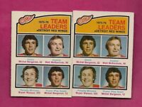 2 X 1976-77 OPC # 385 RED WINGS TEAM LEADERS EX-MT CARD  (INV# A6872)