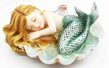 Under The Sea Baby Mermaid Sleeping On Oyster Shell Enchansia Figurine Sculpture