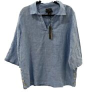 Tahari Women's Linen Shirt Tunic Top Women Plus Sz 1X Blue Washable NWT