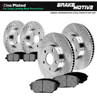 Front+Rear Drill Slot Brake Rotors And Metallic Pads For BMW 323i 325i 328i E36