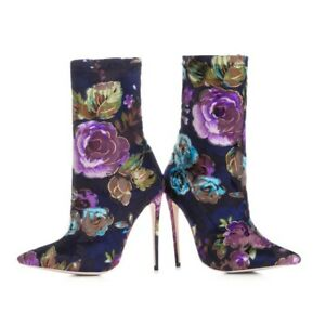 Womens Ankle Boots Flowers 12cm Stiletto High Heel Pumps Pointed Toe Party Shoes