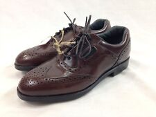 NEW Dexter Golf Shoes Cleats Men 7 WW Brown Loafers Wing Tip Oxfords Lace Up USA