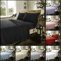 Thermal Flannelette Fitted Flat Bed Sheet Single Double King Size Brushed Cotton