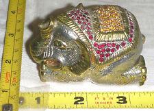 "Metal Jeweled ELEPHANT Hinged TRINKET BOX - 2 3/4""L x 1 7/8""W x 1 3/4""H  NICE !!"
