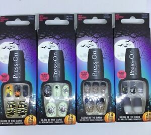Halloween Nails Press-On Manicure Glow in the Dark 4 x 24 Nails Aktion *neu*👻🎃