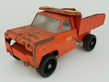 Vintage Tonka Orange Pressed Steel Dump Truck Toy 13.5 Inches Long Distressed