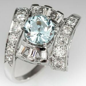 Engagement Ring Natural Aquamarine Ring Silver White Gold Plated Victorian Ring