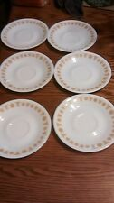 LOT OF 6 VINTAGE CORELLE LIVINGWARE BUTTERFLY GOLD CORNING 6 INCH + SAUCERS