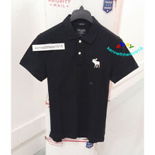 ABERCROMBIE & FITCH MENS SUPER SLIM EXPLODED ICON POLO SHIRTS BLACK SIZE LARGE