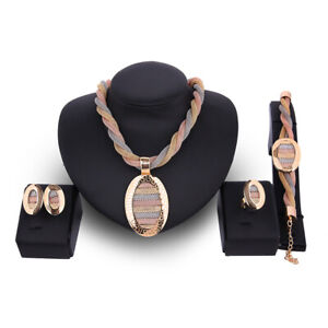 Gold Plated Wedding Jewelry Set Necklace Bracelet Earring Fashion Chain Retro