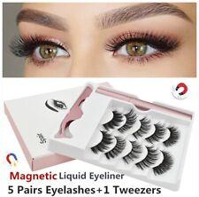 5 Pairs Magnetic Eyelashes with Waterproof Magnetic Eyeliner Long Lashes Set Kit
