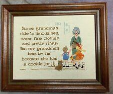 """SDN Vtg Needle Point Embroidery Grandmas Kids Framed 14""""x11"""" 16.5"""" x 13.5 framed"""