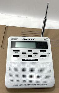 Midland Portable Weather Radio Model WR-100 Public Alert NOAA White DEFECT