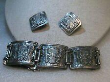 "Vintage Coro Aztec Bracelet & Clip Earrings, Sterling Overlay, 7"", Safety Chain"
