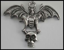 PEWTER CHARM #1000 BAT with SKULL (44mm x 35mm) 1 bail