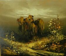 Original landscape with oil painting on canvas in knife, manual painting 100%