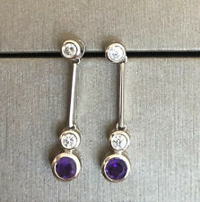 Designer 9ct White Gold Solitaire Diamond Drop Earrings with Amethyst 0.50ct