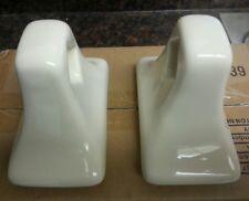 MID CENTURY MODERN Vintage Beige Bone Biscuit Ceramic Bath Towel Bar Holders NOS