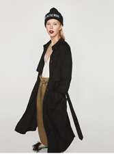 ZARA Suede effect trench coat-black-ref 4341/202-size S-M