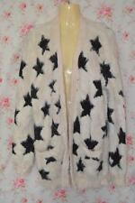CUTE CREAM & BLACK KNITTED TOPSHOP STAR DETAIL SOFT COMFY FLUFFY CARDIGAN UK 8