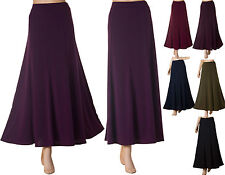 Ladies Long maxi Skirt Panel 10 12 14 16 18 20 22 24 XXL black wine khaki purple