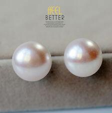 Pendiente`Orejas Pulga perla cultivada Plano, liso 925 Rosa 15mm-16mm ENORME