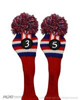 Red White Blue Headcover New #3 #5 fairway Retro Pom Pom Head Cover Sock Golf