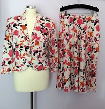 PETER MARTIN FLORAL PRINT LINEN SKIRT AND JACKET SUIT SIZE 12