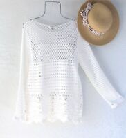 New~$58~Ivory White Cotton Crochet Knit Sweater Pullover Boho Top~Size Medium M