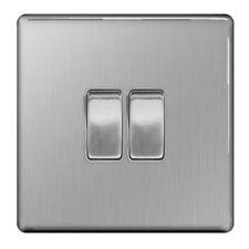 BG Nexus FBS42 - Screwless Flat Plate Brushed Steel 2 Gang 2 Way Light Switch