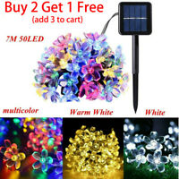 Outdoor Solar String Lights LED Waterproof Cherry Flower Xmas Garden Party Decor