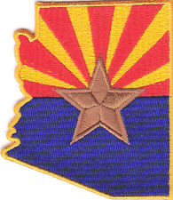 ARIZONA FLAG - Iron On Embroidered Applique Patch /Shape of Arizona State