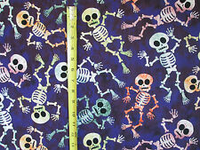 SKELETONS SKULL BONES HANGING SKELETON PURPLE COTTON FABRIC FQ