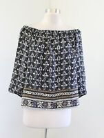 Madewell Gardenhouse Silk Off the Shoulder Top Blouse Size L Floral Geometric