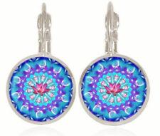 Mandala blue silver Glass cabochon 18mm handmade Earrings Jewelry GB59