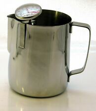 Stainless steel coffee latte jug and thermometer Frothing Cappuccino 600ml