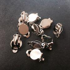20 Pairs Silver Tone Clip On Earrings 17x10x6mm DIY Earrings Non Pierced Ears