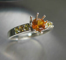 RARE 0.55ct Natural Clinohumite &sapphire Sterling 925 Silver ring