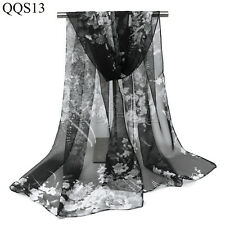 "New Fashion Women's 100% Silk Black &White ""Floral"" Print Scarf Wrap Shawl Stole"