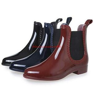 Ladies Women Girl Rain boots Waterproof Ankle Boot Non Slip Rubber Chelsea Shoes
