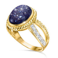 Wedding Fashion Sz 6-10 Starry Sky 18k Yellow Gold Plated Women Rings