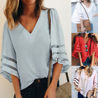 Women Summer Loose  3/4 Bell Flare Sleeve T-Shirt Tops Casual V-neck Blouse Tee